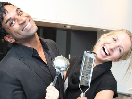 Ramesh Nair und Moderatorin Stefanie Hofbauer hatten beim Koch-Event sichtlich ihren Spaß.