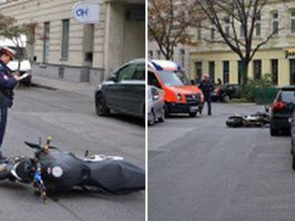 Der Motorradfahrer wurde bei dem Unfall anscheinend verletzt.