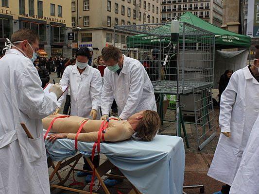 Die Tierschützer zeigten mit einer Performance am Stephansplatz Tierleid auf