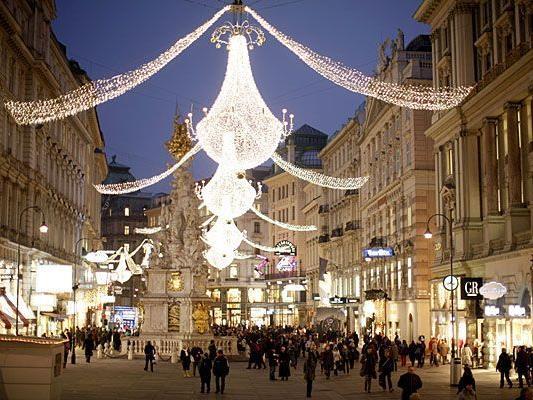 Alle Jahre wieder besonders prachtvoll: Die Weihnachtsbeleuchtung am Wiener Graben