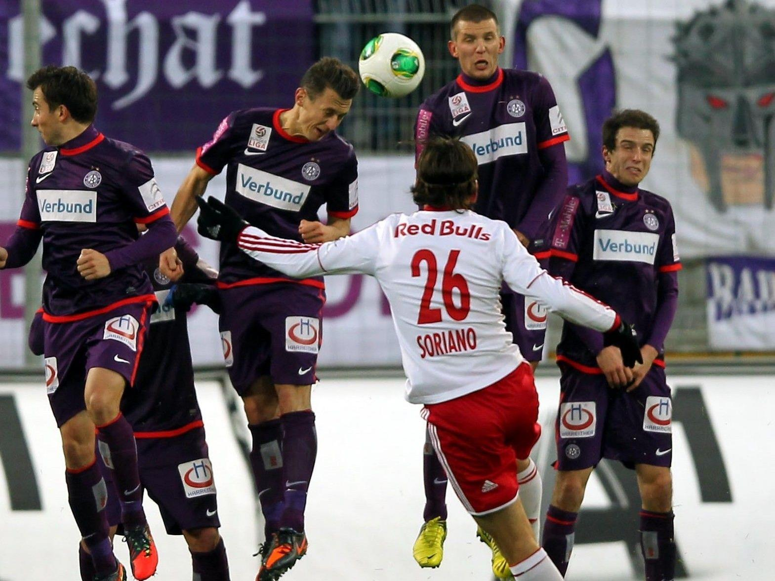 Die Austria Wien spielt gegen den RB Salzburg in Wien unentschieden