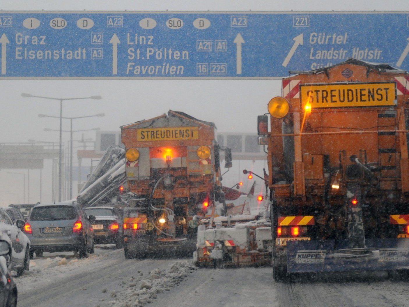 Schnee in Wien: Am Donnerstag mussten Autofahrer etwas längere Wege auf sich nehmen.