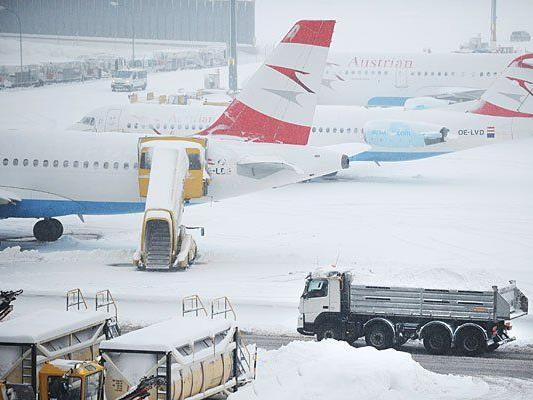 Dieses Bild bot sich am Donnerstag am Flughafen Wien