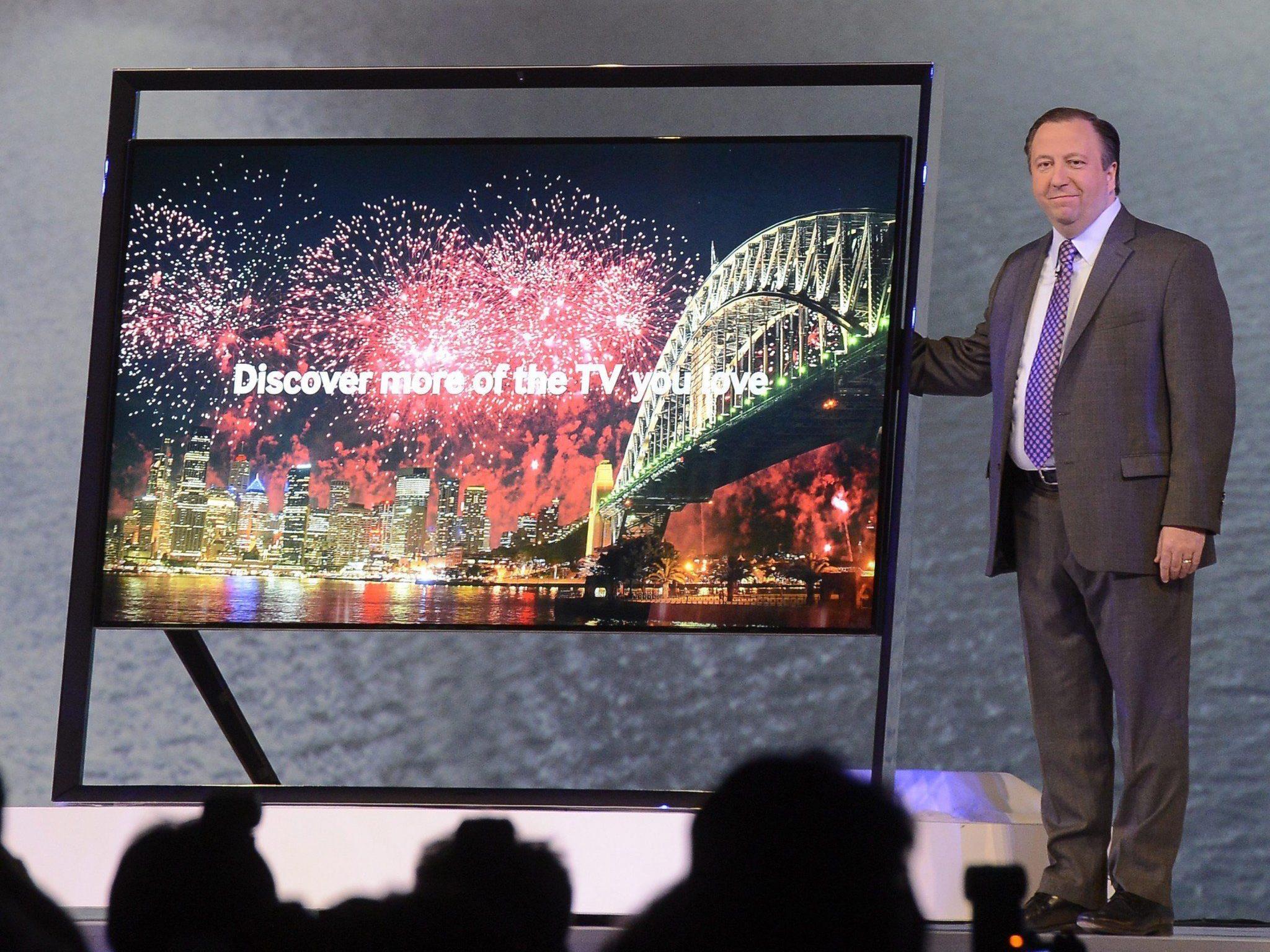 Ein neuer UHD-Fernseher von Samsung vorgestellt auf der CES in Las Vegas.