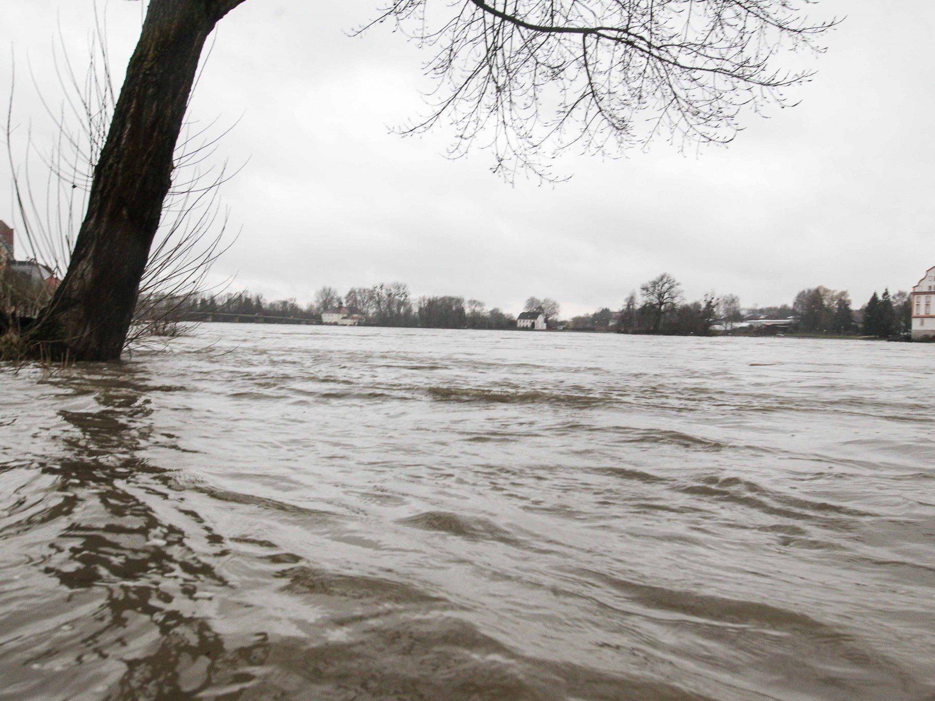 Wiesen und Straßen waren vielerorts überflutet. Im Bild: Eine überflutete Wiese in Schärding (OÖ).