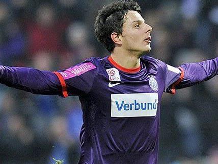 Philipp Hosiner, Goalgetter der Wiener Austria rechnet mit einem ausgeglichen Kampf im Derby