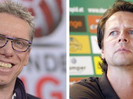 Peter Stöger und Peter Schöttel ließen sich im Hinblick auf das Derby nicht in die Karten blicken