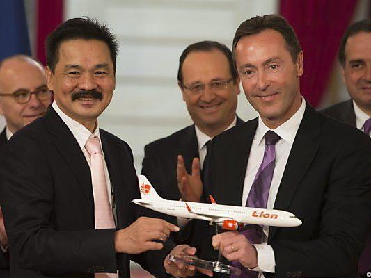 Lion-Air-Chef Kirana (l.) mit Hollande und Bregier