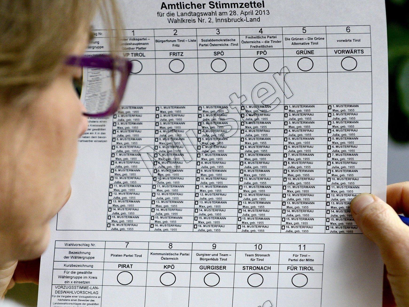 So sieht ein Stimmzettel bei der Landtagswahl in Tirol aus.