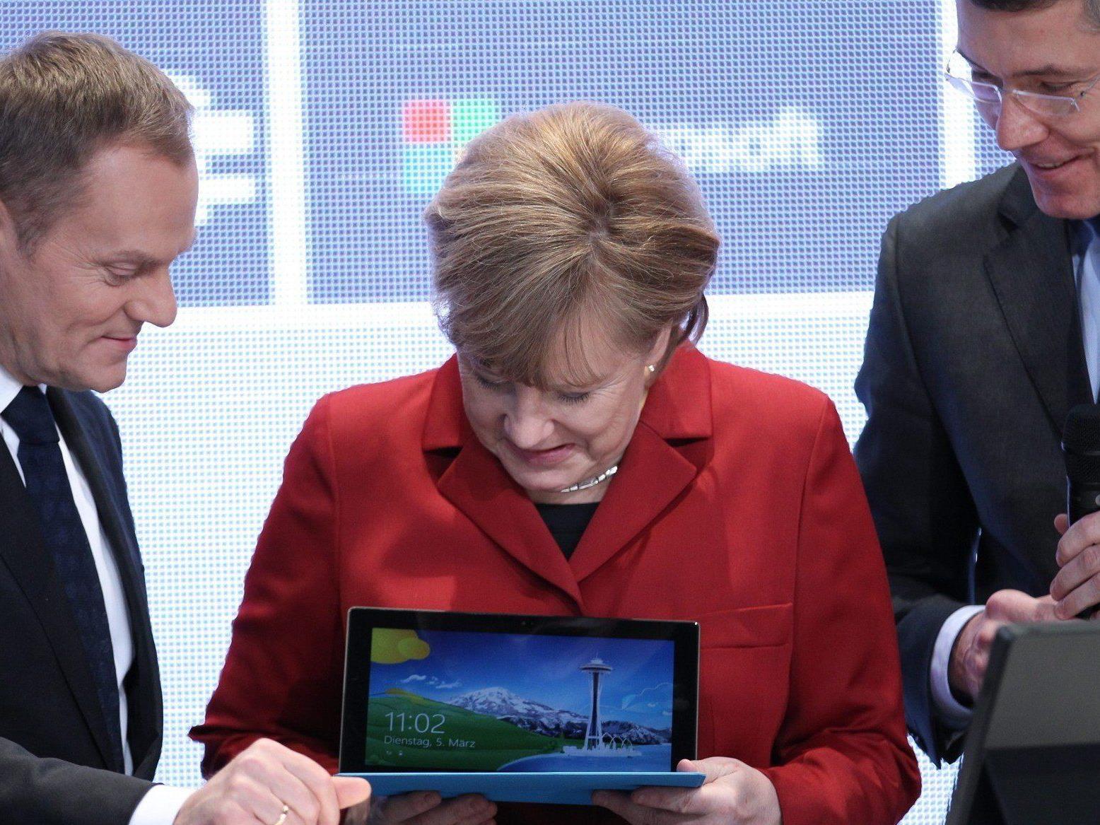 Anegla Merkel eröffnete am Dienstag die CeBit 2013 in Hannover.