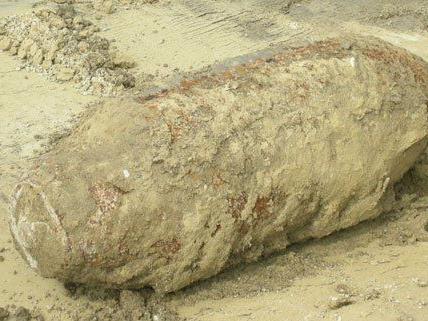 Diese alte Bombe wurde in Donaustadt freigelegt.