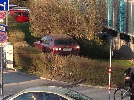 Ein Pkw auf einem - nicht regulären - Parkplatz im Grünen.