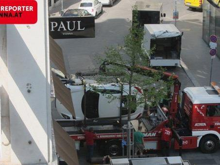 "Vor dem Modeaustatter ""Paul Vienna"" wurde der Porsche ""abgeschlepp""."