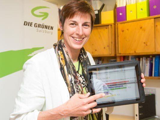 Grünen-Spitzenkandidatin Astrid Rössler freut sich über den Erfolg bei der Salzburger Landtagswahl.