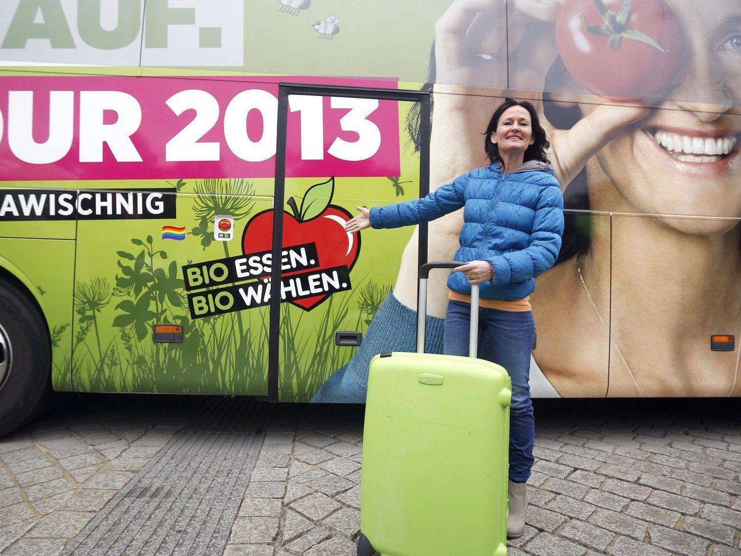 Grünen-Chefin Eva Glawischnig startete am Montag ihre Österreich-Tour.