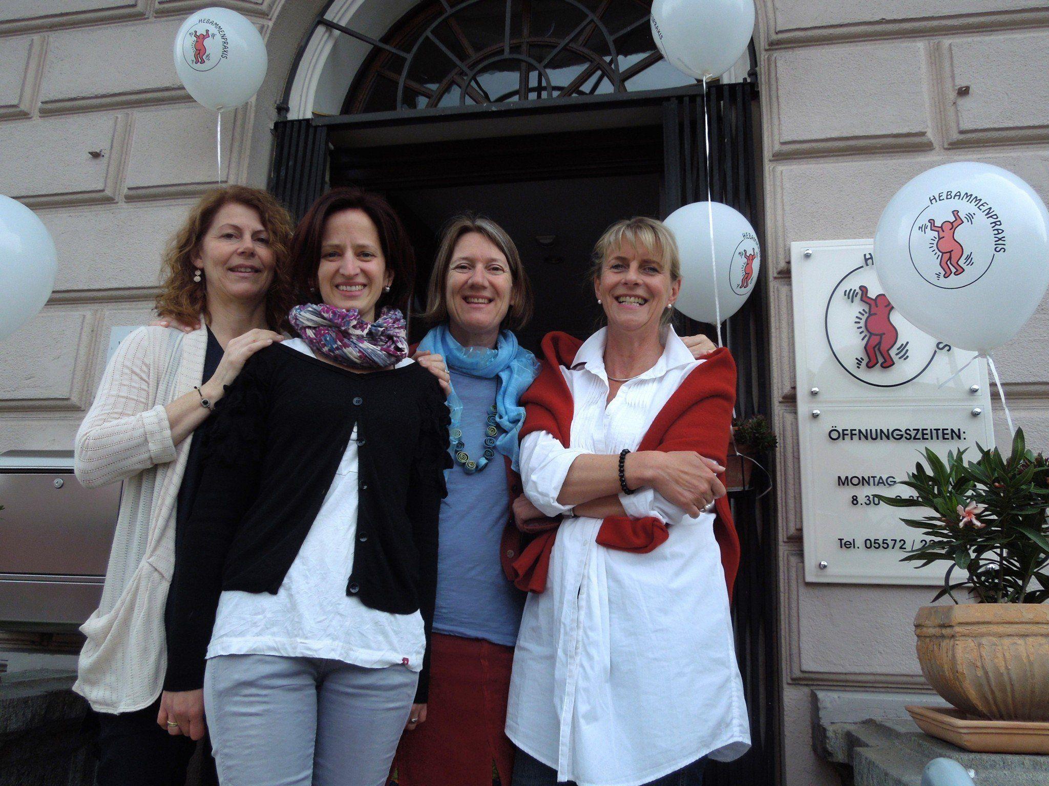 Elisabeth Spiegel-Hefel, Edith Ritter-Ladstätter, Daniela Mittelberger-Erath und Helga Peter feierten mit ihrer Hebammenpraxis 10. Geburtstag.