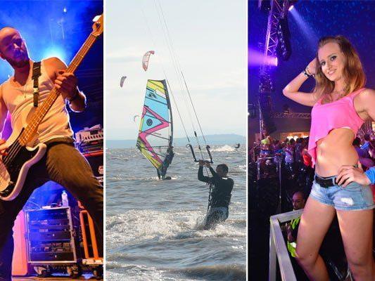 Musik, surfen und jede Menge Party gab es beim Surf Worldcup 2013 in Podersdorf