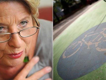 Ursula Stenzel ärgert sich über die grünen Radwege in Wien.