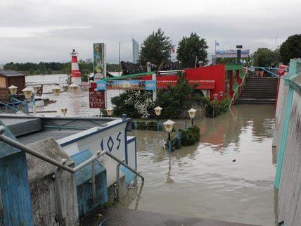 Hochwasser - Wiener Häfen und Lokale an Neuer Donau überflutet