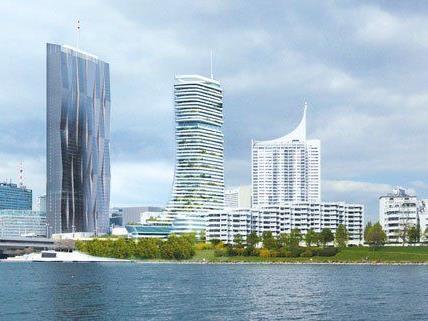 So wird die Skyline nach Fertigstellung des DC Towers und der Danube Flats aussehen.