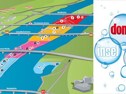 Alle Bühnen und Inseln im Plan vom Wiener Donauinselfest 2013.