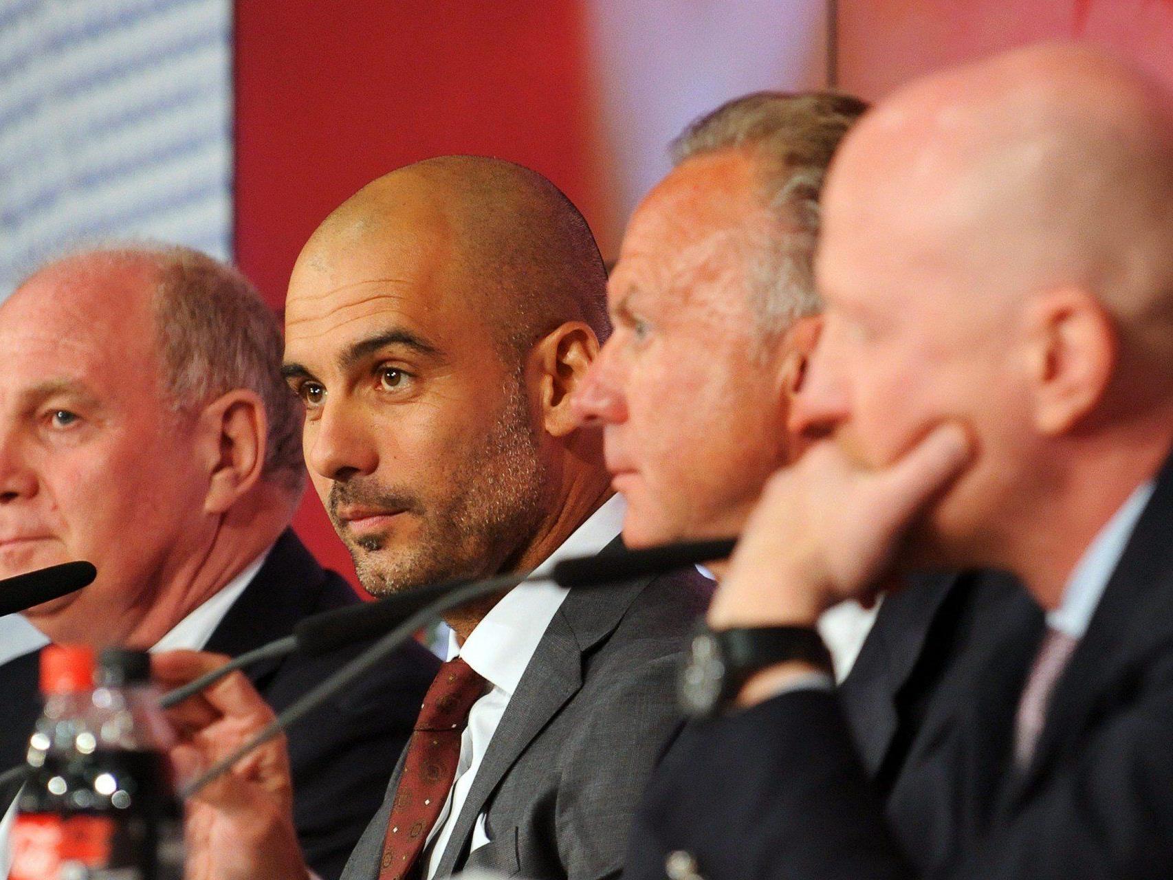 Fußball-Ästhet Guardiola (2.v.l.) tritt seinen Dienst beim FC Bayern an.