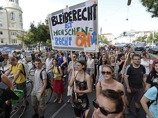 Bei der Demo Montagabend in Wien