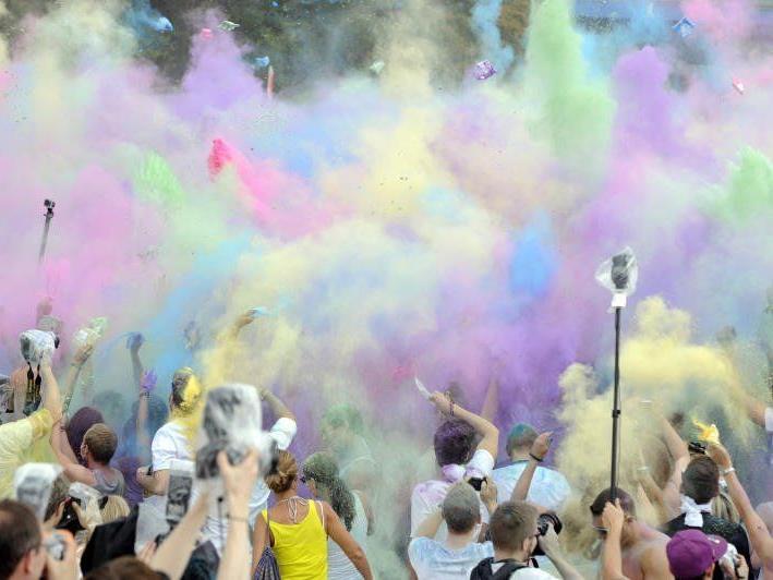 Das erste Holi Festival in Wien.