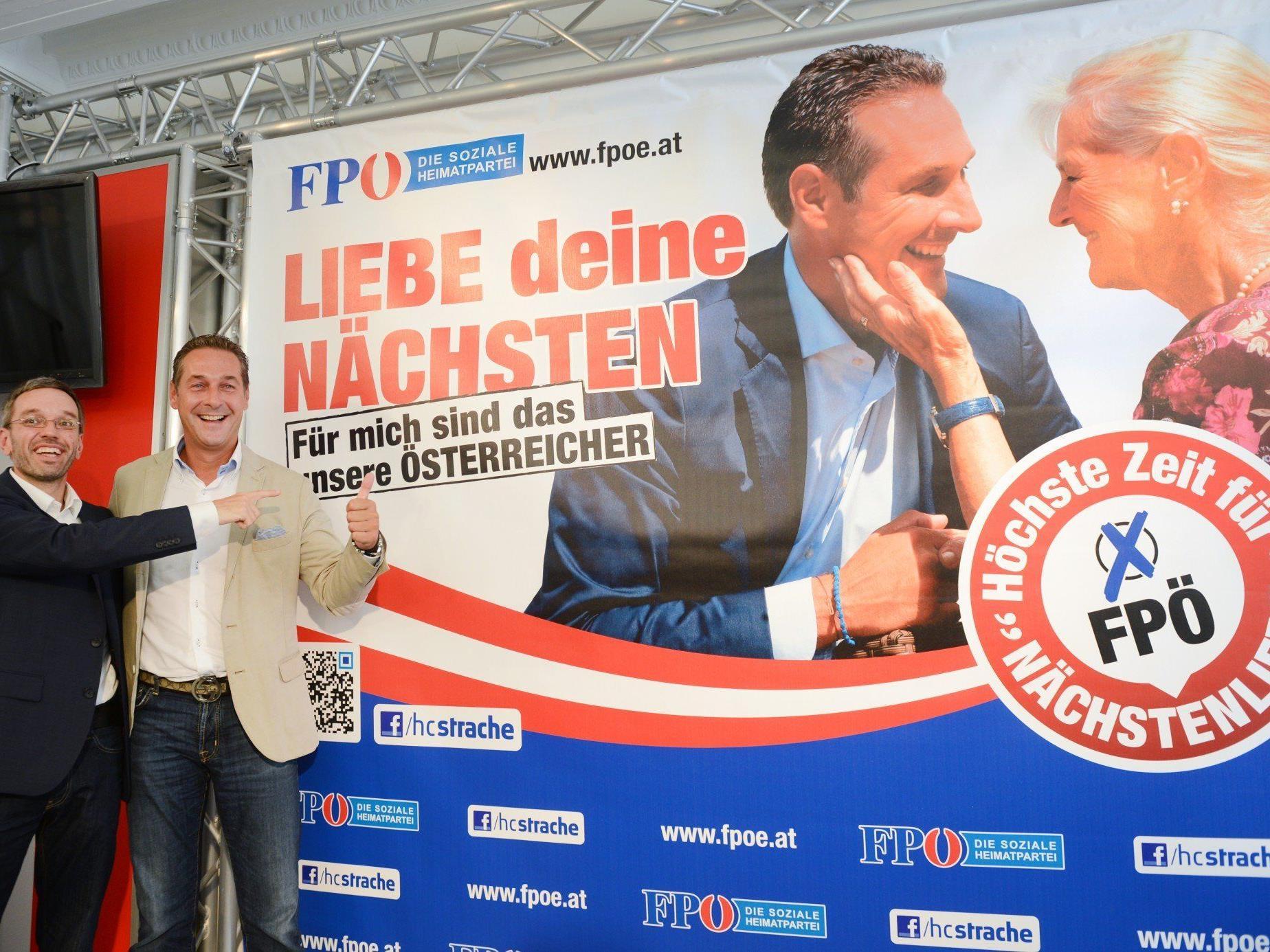 """Strache setzt mit seiner neuen Plakatkampagne auf """"Nächstenliebe""""."""