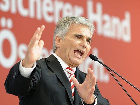 Bundeskanzler Werner Faymann präsentiert das Wahlprogramm