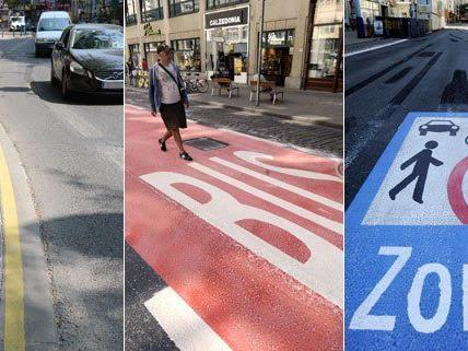Gelbe Linien, eine Busspur, eine Begegnungszone - vieles ist neu auf der MaHü.