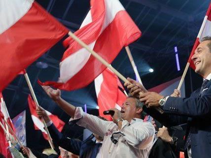 H.C. Strache beim Wahlkampfauftakt der FPÖ am Samstag.