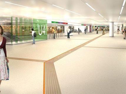 Eine Computergrafik der Karlsplatz-Passage, wie sie nach der Sanierung aussehen soll.