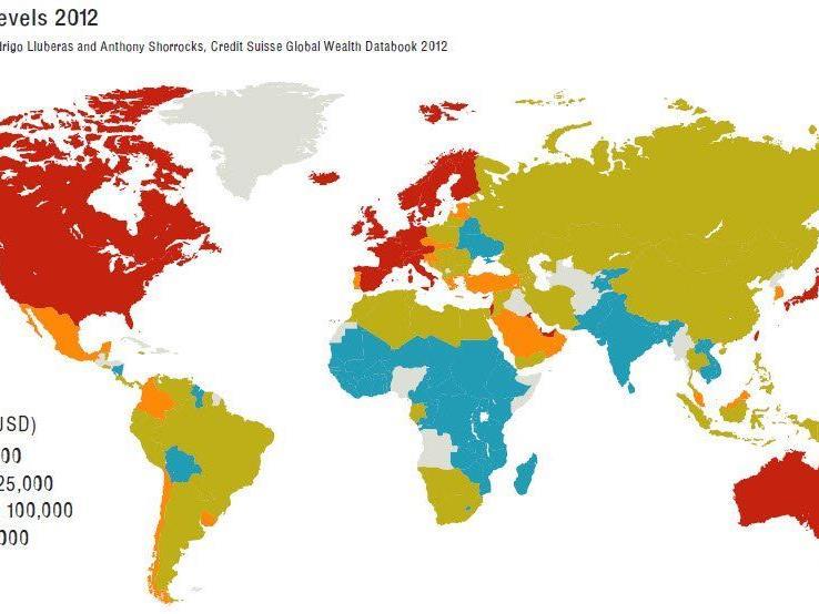 Weltweite Reichtumsniveaus nach Regionen.