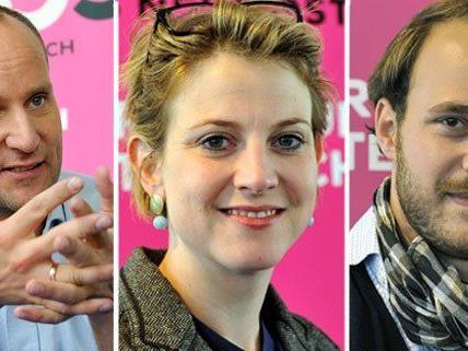 Die neuen NEOS: Matthias Strolz, Beate Meinl-Resinger und Nikolaus Scherak