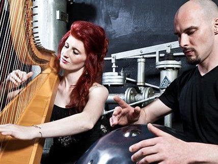 "Wiener Duo ""Ciference-Symphony"" tourt mit Harfe und Hang durch China"