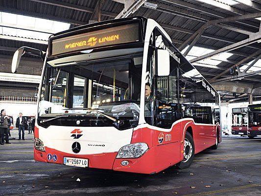 Einer der neuen Mercedes Citaro Busse während der Präsentation der neuen Bussflotte der Wiener Linien.