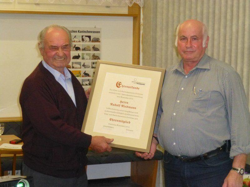 Herr Rudi Riedmann wurde zum Ehrenmitglied ernannt