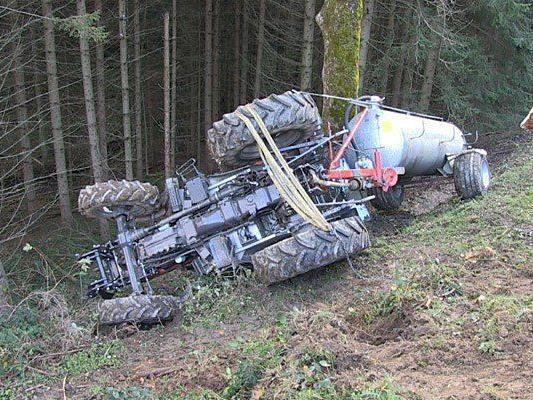 Der abgestürzte Traktor