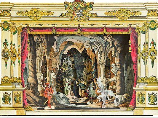 """Papiertheatersammlung Dr. Zwiauer Trentsensky-Verlag """"Goethes Faust"""" Rokoko Stil Wien 1850 Zur Verfügung gestellt von: Kunsthandel Mahringer"""