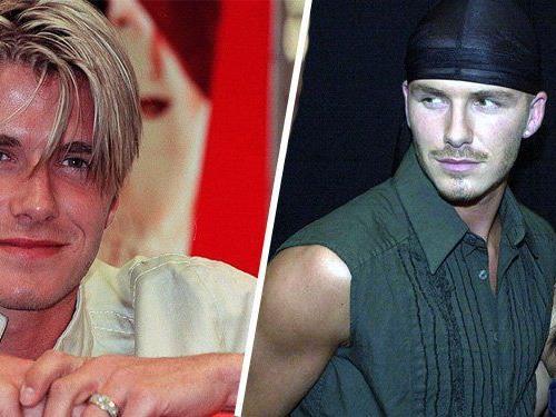 """David Beckham in jungen Jahren und mit seiner Frau Victoria """"Posh Spice"""" Beckham."""