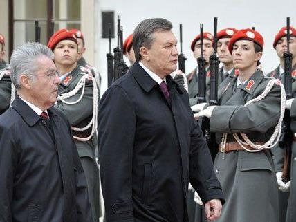 Ukrainischer Präsident Viktor Janukowitsch auf Staatsbesuch in Wien.