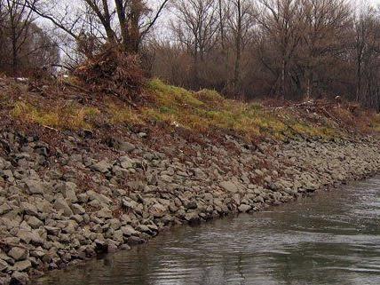 Der Damm entlang der Donau wird saniert.
