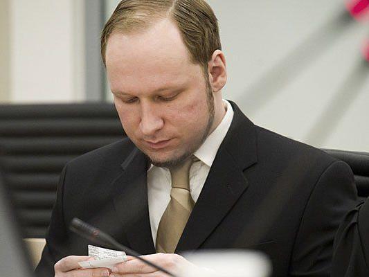 Der Attentäter Anders Behring Breivik beim Prozess