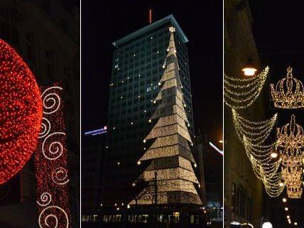Weihnachtliche Beleuchtung in der Wiener Innenstadt.