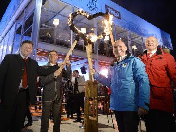 Tirols Tourismussprecher Sigi Egger, Tirol Werbung-Chef Josef Margreiter, BM Gerald Klug und ÖOC-Präsident Karl Stoss