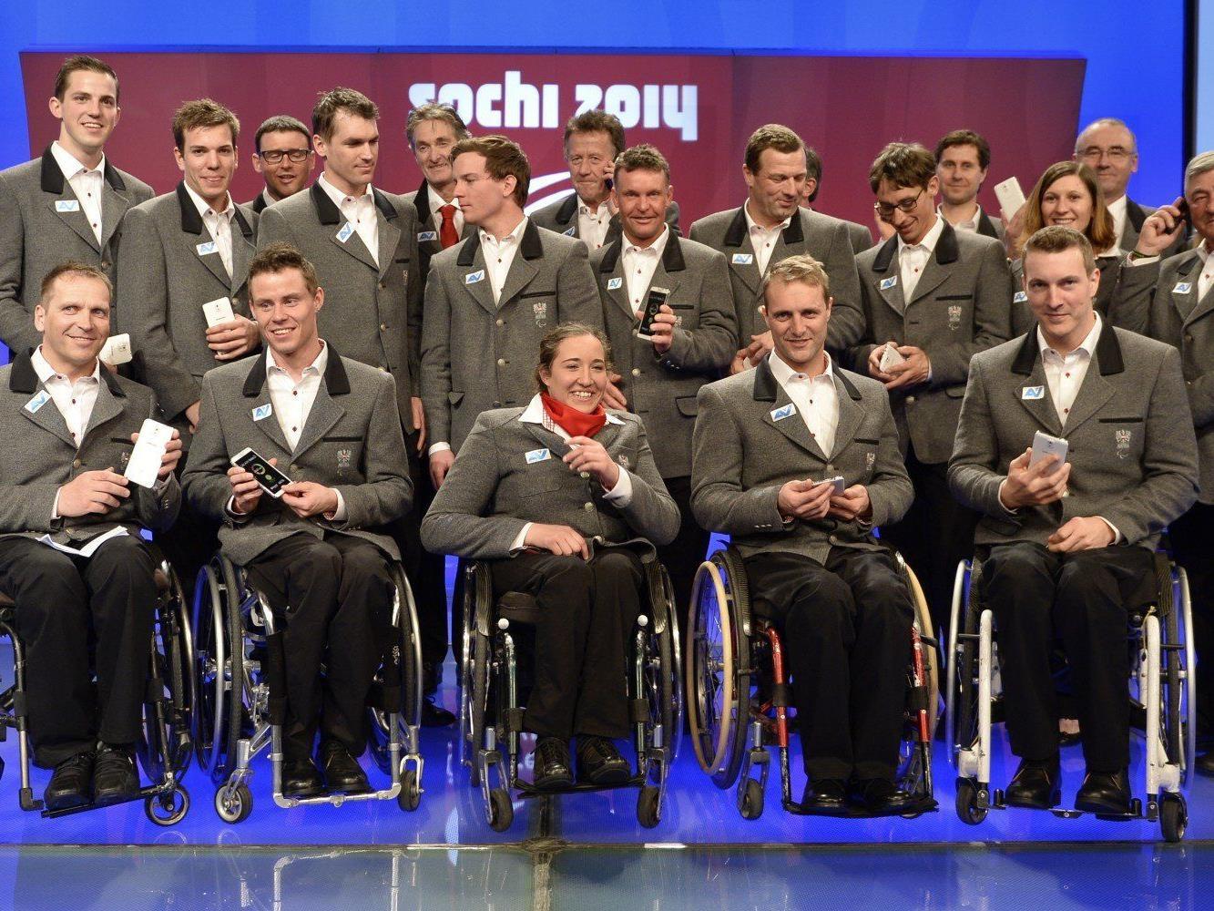 Das österreichische Paralymics-Team am Donnerstag, 20. Februar 2014, im Rahmen der Vereidigung in Wien.