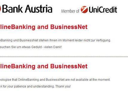 Ausfall bei der Bank Austria im Netz.