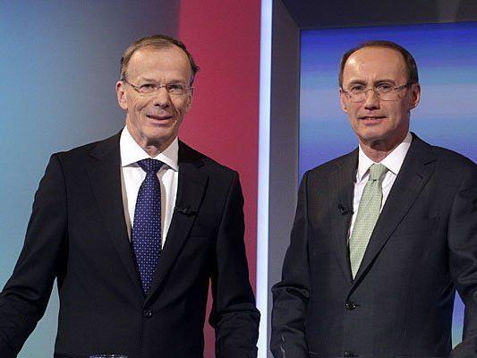 Die Spitzenkandidaten für die EU-Wahl, Eugen Freund (SPÖ) und Othmar Karas (ÖVP) - wer macht das Rennen?