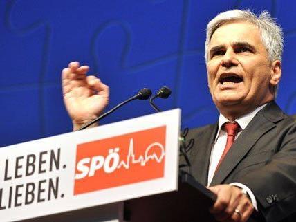 Werner Faymann bei seiner Rede am SPÖ-Parteitag.